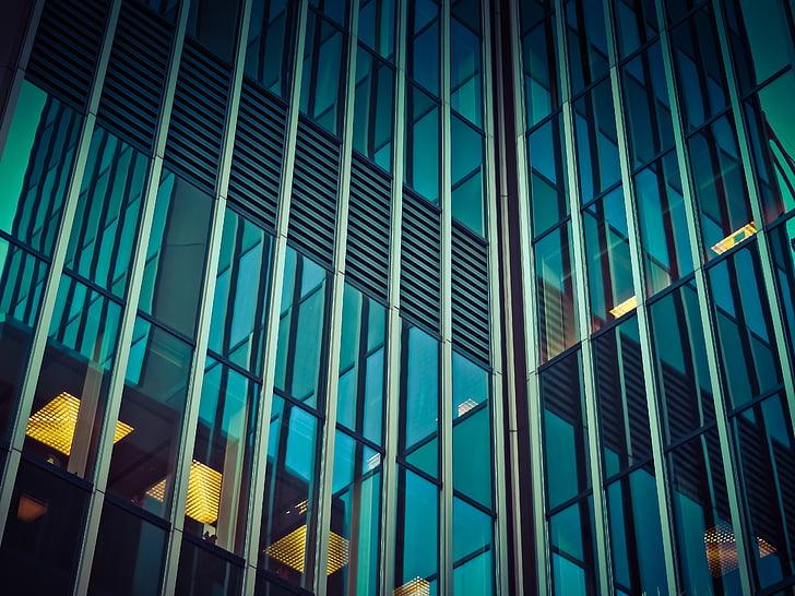arquitectura, moderna, edifici, façana, vidre, il·luminació, gratacels
