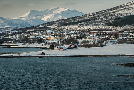Norge, Tromsö, fjorden, Lappland, snö, vinter