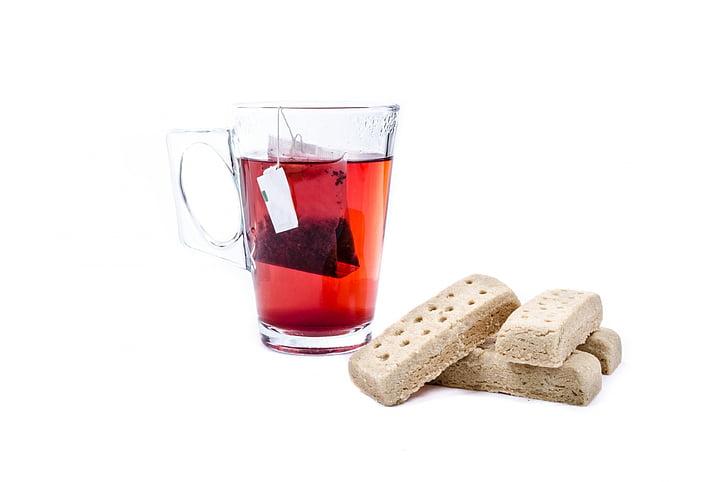 čaj, kup, bijeli, teabag, krigla, staklo, slatki