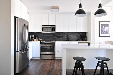RVS, staal, Frans, deur, koelkast, twee, zwart