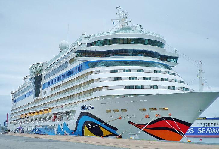 Aida, kryssningsfartyg, Aida bella, Voyage, Holiday, hamn, havet