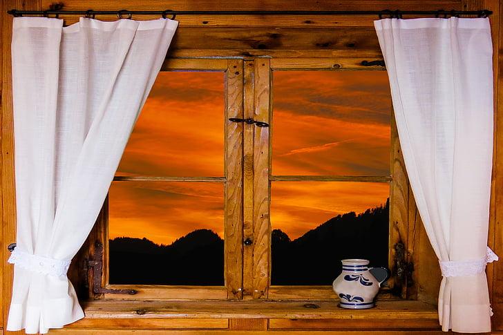 arquitetura, janela, natureza, perspectivas, cortina, luz da noite, pôr do sol