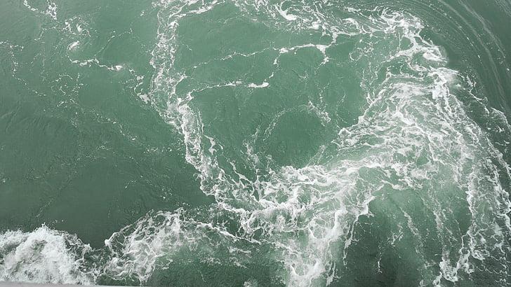 el mar, las olas, verde, mar, ola, naturaleza, agua
