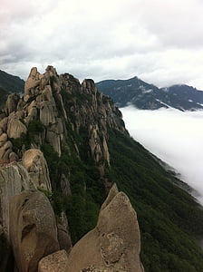 roccia di Ulsan, seoraksan mt, un mare di nubi, montagne e nubi, montagna, natura, paesaggio
