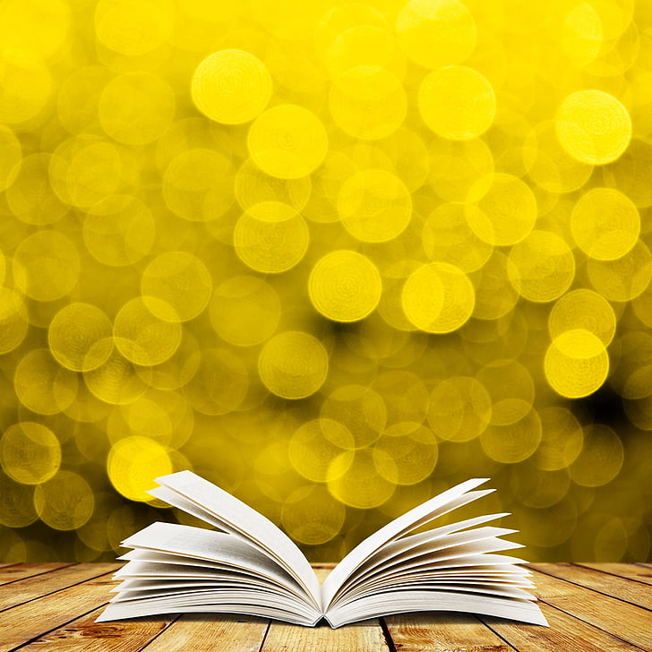 bokeh, book, table, yellow, backgrounds, education, literature