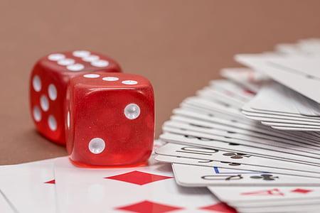 szerencsejáték, kártyajáték, kocka, a dobáshoz, kártyák, szív, póker