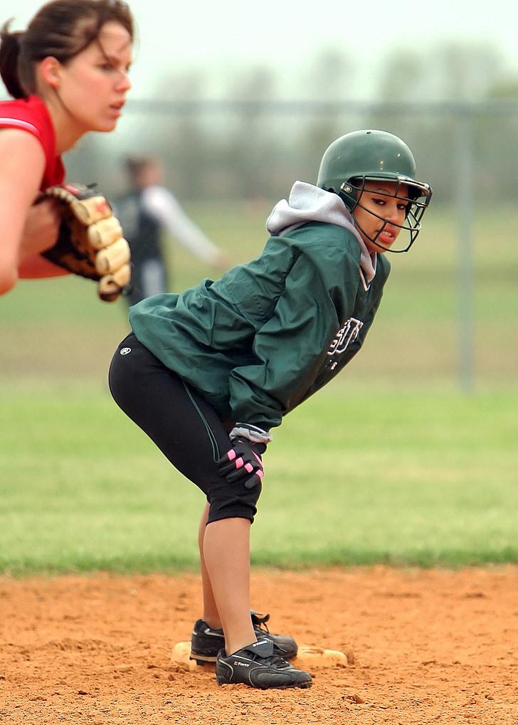 Softbol, nenes, atleta, joc, esport, femella, jugador