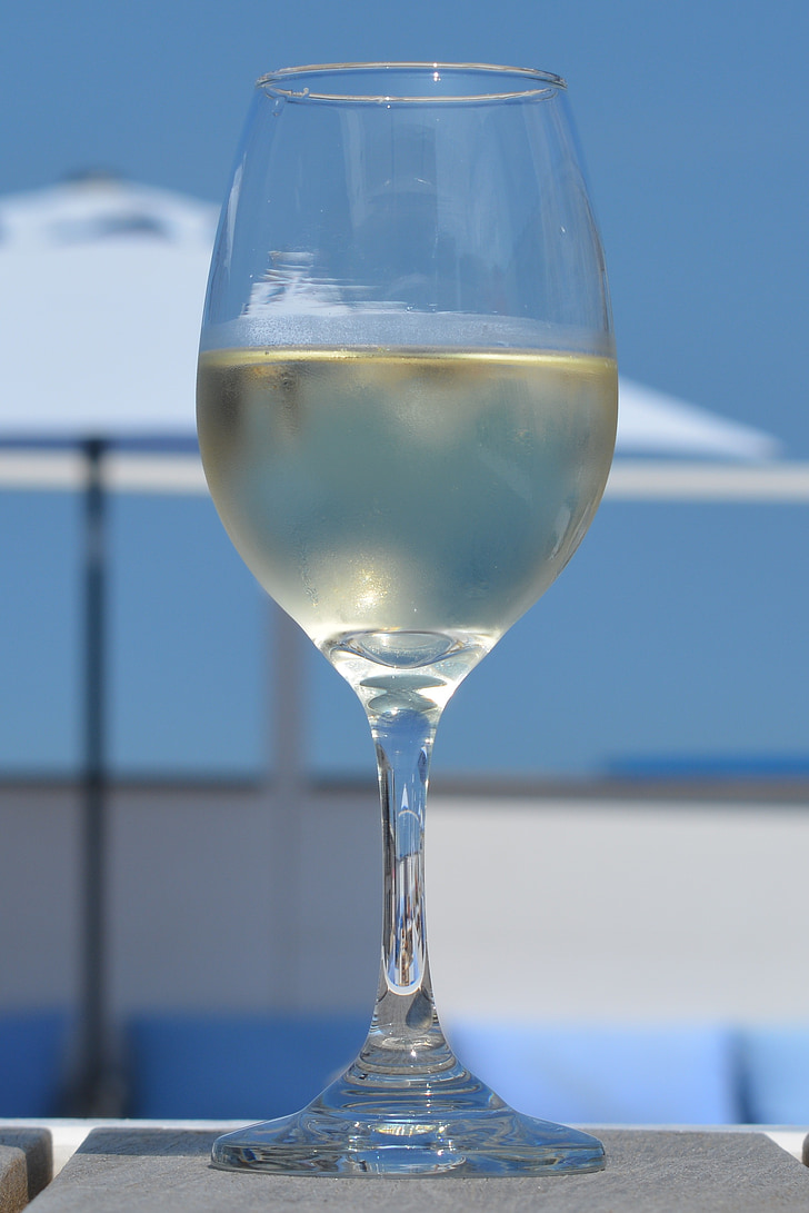 vino, vacaciones, vidrio, cielo azul, vino blanco, relajación, disfrutar de