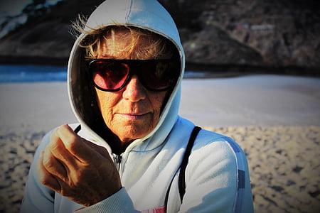 elderly woman, woman, beach, sunglasses, white, landscape, cottage