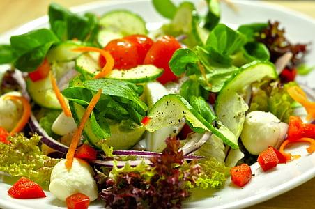 샐러드, 샐러드 플레이트, 비타민, 건강 한, 먹으십시오, 초보, 오이