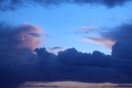 núvols, natura, blau, núvols fosques