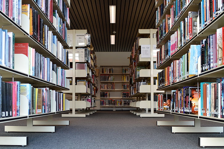 books, library, read, bookmarks, bookshelf, symmetry, book