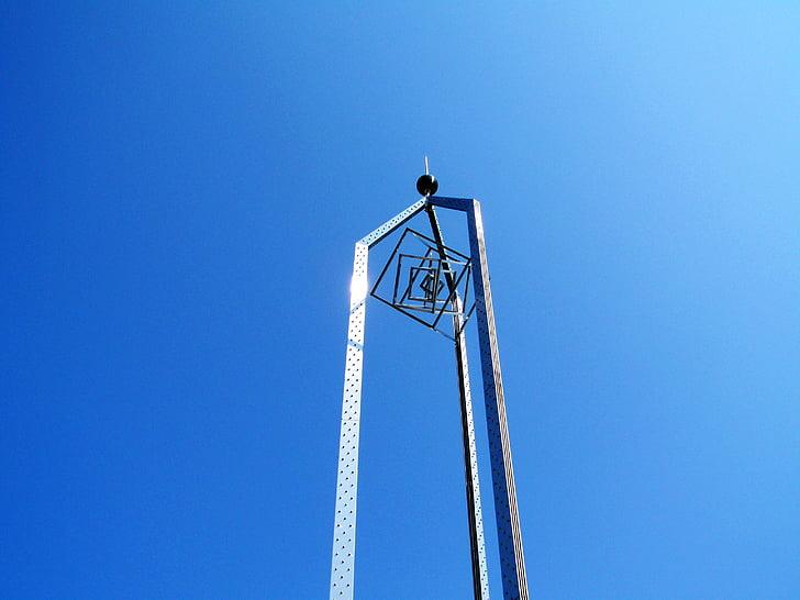 monument, mohács city, hungary blue sky, metal works