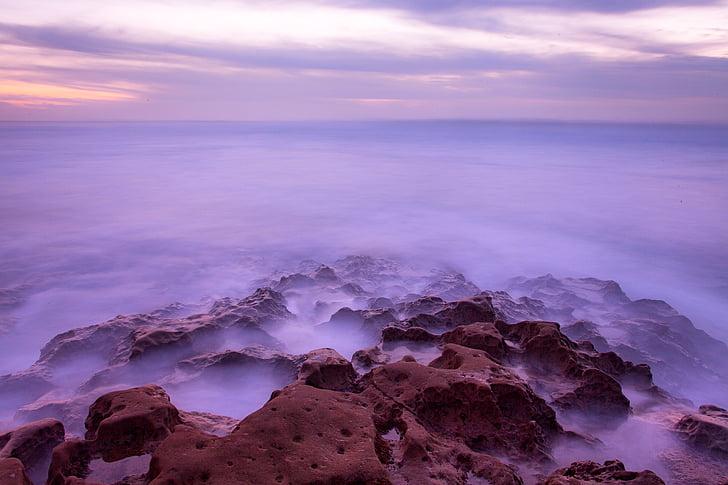 mar, oceano, água, natureza, pedras, Costa, pôr do sol