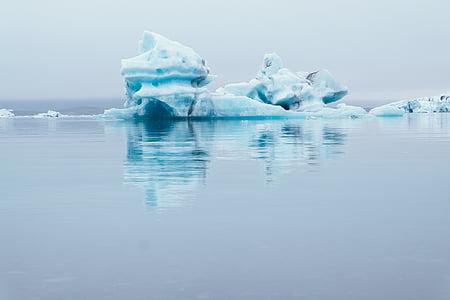 sea, ocean, water, nature, ice, iceberg, reflection