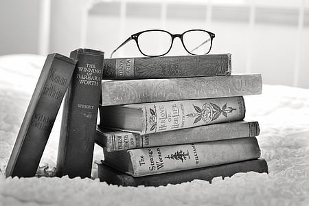 antique, black-and-white, books, education, encyclopedia, glasses, gray