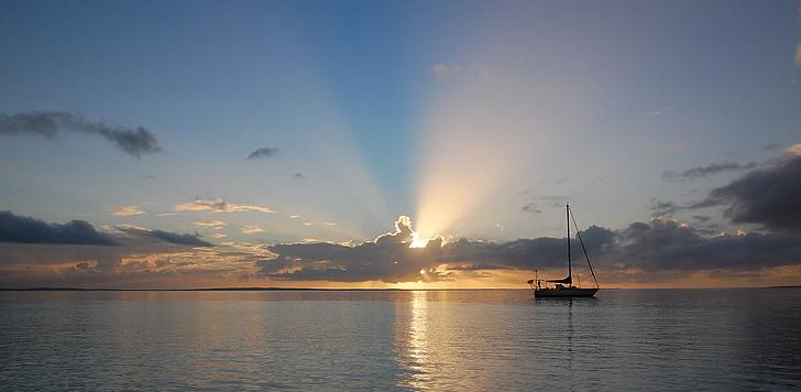 εκκίνησης, ηλιοβασίλεμα, στη θάλασσα, ηλιαχτίδα, πανί, abendstimmung, Ενοικιαζόμενα