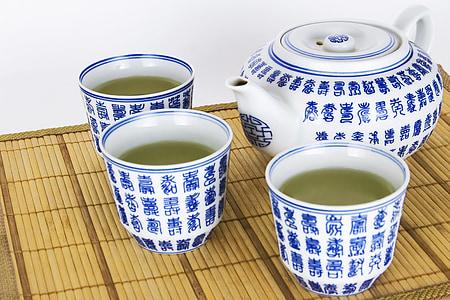 tradicional, verd, te, fabricant, vidre, asiàtic, Sa