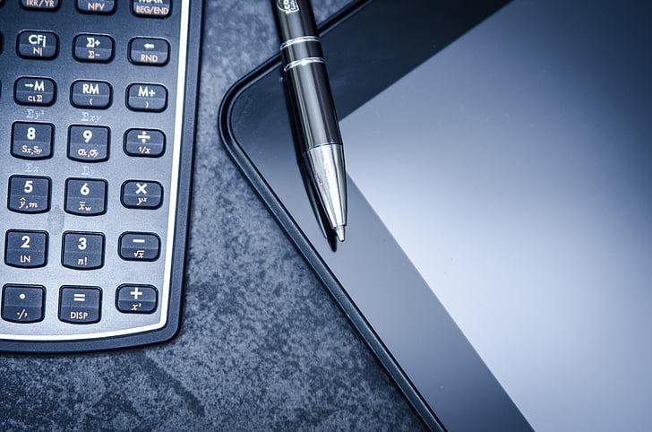 tableta, kalkulator, poslovni, pero, finance, kemični svinčnik, podatkov