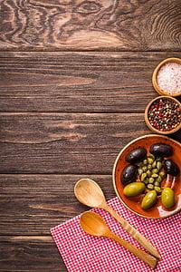 φόντο, τροφίμων, νόστιμο, ελιές, ξύλινο υπόβαθρο, μαγείρεμα, Πλάκα