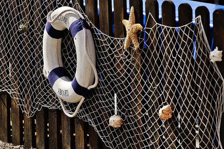 maritima, fisknät, livbälte, dekoration, sjöstjärna, dekorativa, Shell