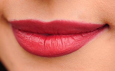 llavis, vermell, dona, noia, atractiu, maquillatge, llavis vermells