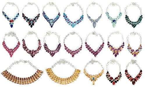 vidre, collarets, Collaret, chokers, colors, pedres precioses, gemmes