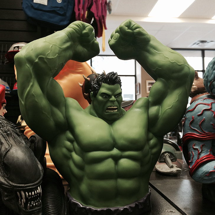 The Incredible hulk, superherois, joguina, verd, muscular, dibuixos animats, poder