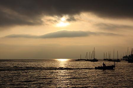 embarcacions, Fischer, Llac, Itàlia, posta de sol, estat d'ànim, Romanç