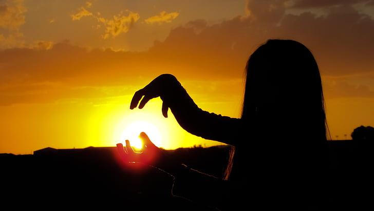 Magic, solen, solnedgång, solljus, siluett, mystiska, naturen
