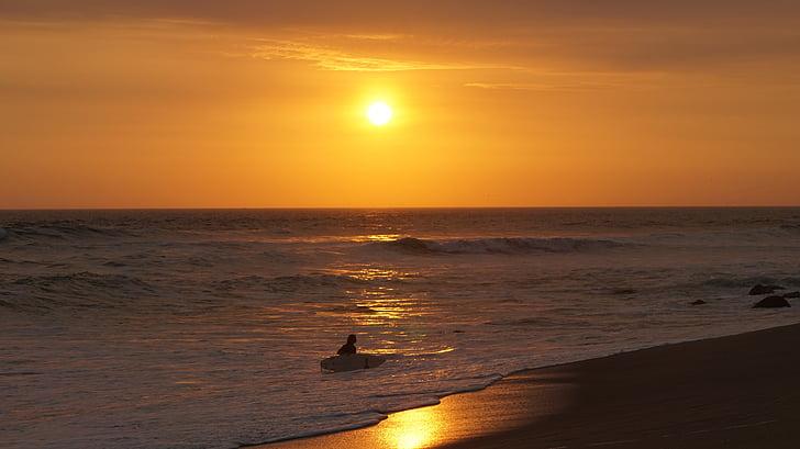 posta de sol, sol, oceà, sol ponent, platja, navegar per