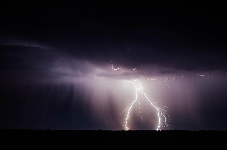 llamp, llamp, poder, tempesta, Tro, Flaix, temps