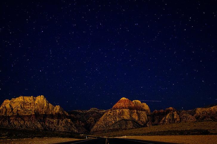 himmelen, stjerner, fjell, ørkenen, livet, skjønnhet, scenen