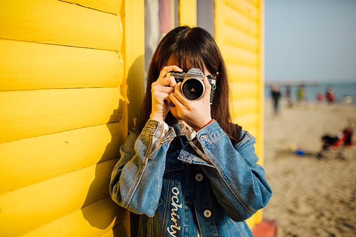 fotografia, el paisatge, brillant, dona
