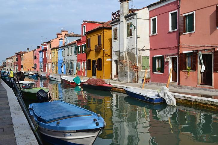 เวนิส, อิตาลี, เรือ, ช่อง, บ้านที่มีสีสัน, หลายสี, กิโลเมตร
