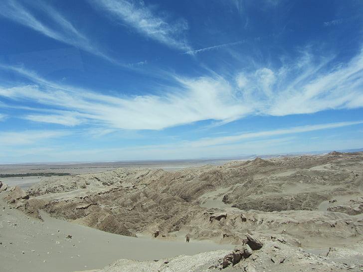 Atacama, pustinja, oblaci, nebo, pijesak, suha, vruće