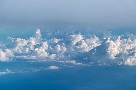 облаците, небе, небето облаци, синьо, синьо небе облаци, природата, времето