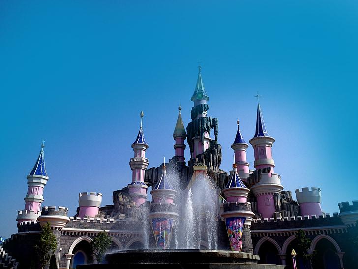 slottet, prinsesse, eventyrverden, tegneserie, Dream castle