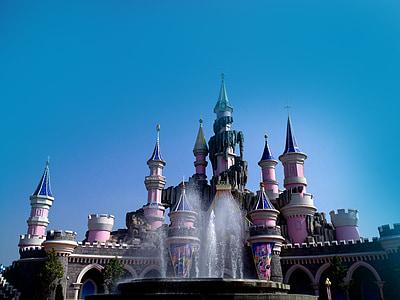 замък, принцеса, света на приказките, карикатура, мечта замък