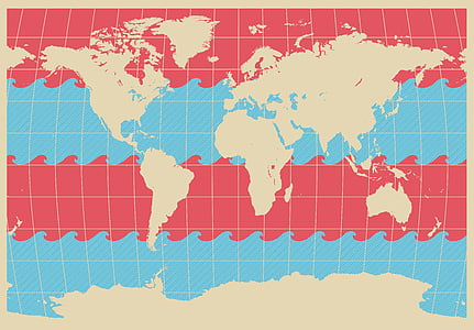 mapa del món, ona, blau, vermell, mapa, Cartografia, vector