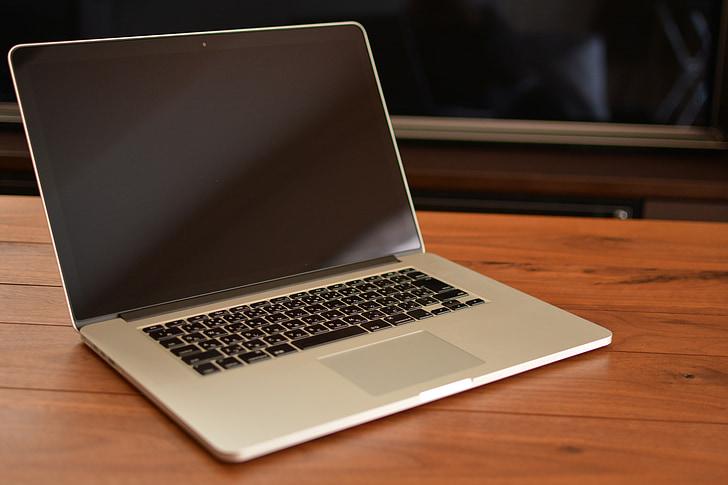 Mac, laptop, prírodné drevo, japončina, klávesnica, hnedá, PC