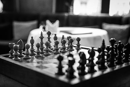 gray, scale, focus, photography, chess, board, piece