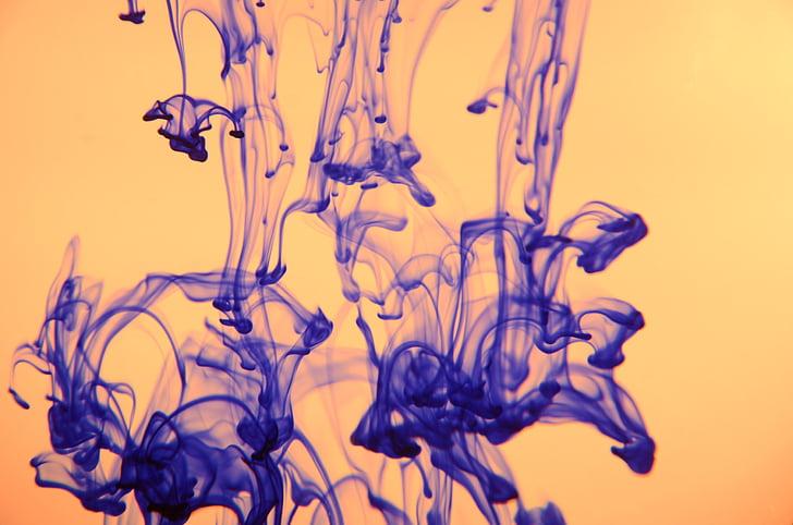 fons, color, degoteig, líquid, l'aigua, tinta, blau