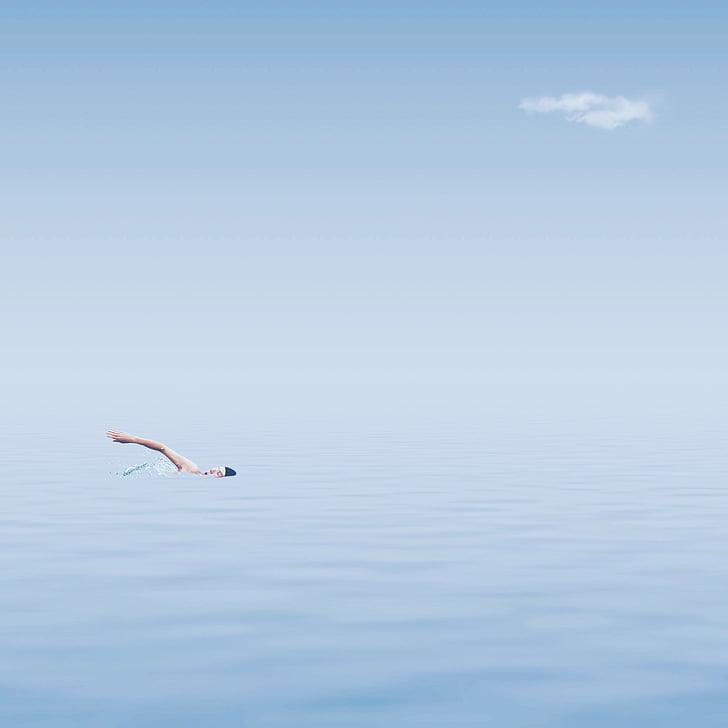 nedador, oceà, l'estiu, platja, esport