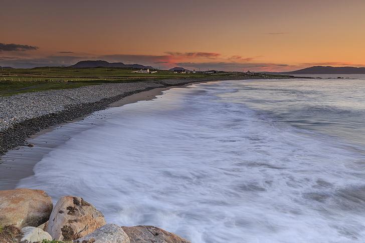 posta de sol, Atlàntic, riba, marí, l'aigua, Costa, paisatge