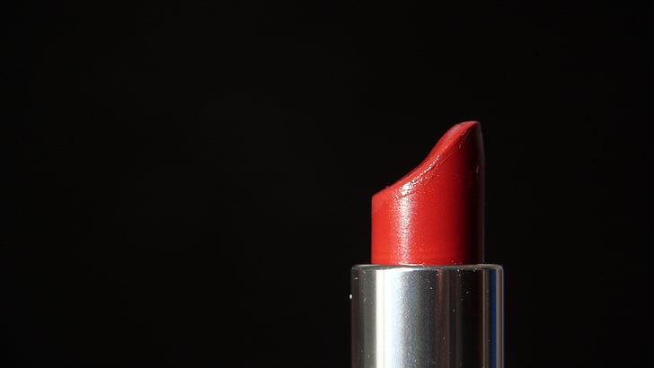huulepulk, kosmeetika, moodustavad, nägu, naiselik, punane, emane