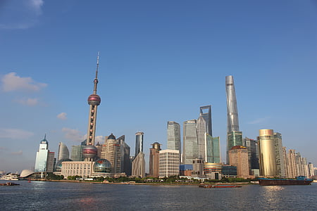 Shanghai, staden, dag, moderna, arkitektur, stadsbild, Skyline