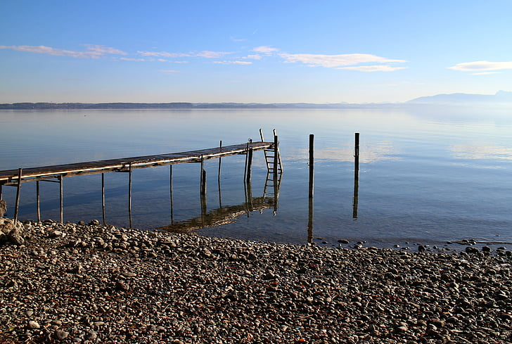 Chiemsee, Web, Bank, Lake, blauw, hemel, water