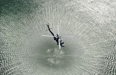 helicòpter, aigües obertes, en Chopper, ones, fulles, rotor, retrolavado