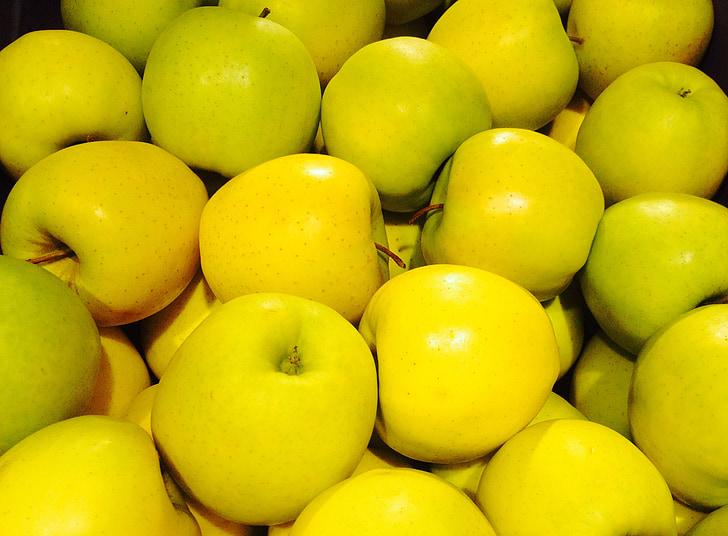 Poma, groc, fruita, Sa, vitamines, aliments, Frisch
